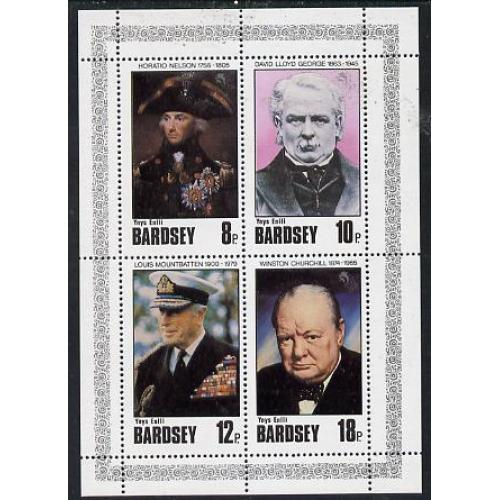 Bardsey 1980  FAMOUS PEOPLE perf set of 4 mnh