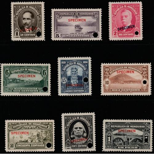 Honduras 1931 PICTORIAL set of 9 opt'd  SPECIMEN mnh ex ABN archives