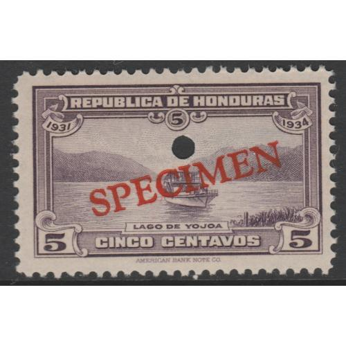 Honduras 1931 BOAT  5c SPECIMEN - ex ABN Co Archives