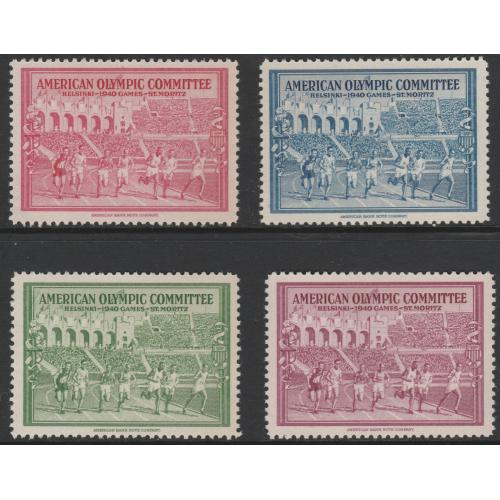 USA 1940 OLYMPIC FUND PERF LABELS set of 4 mnh