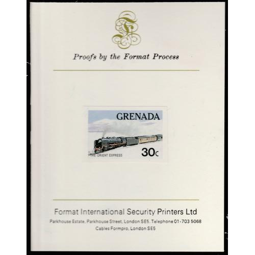 Grenada 1982 TRAINS - ORIENT EXPRESS mperf on FORMAT INTERNATIONAL PROOF CARD