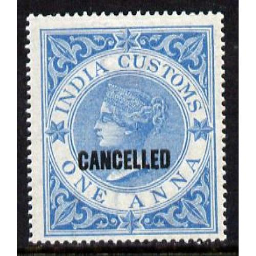 India 1860 CUSTOMS 1a opt'd CANCELLED mnh