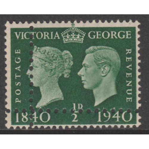 Great Britain 1940 CENTENARY 1/2d with PERFORSTIONS DOUBLED - FORGERY