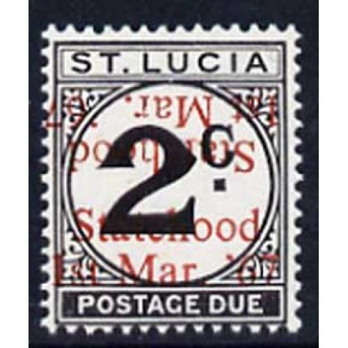 St Lucia 1967 POSTAGE DUE 2c with STATEHOOD OPT DOUBLED mnh