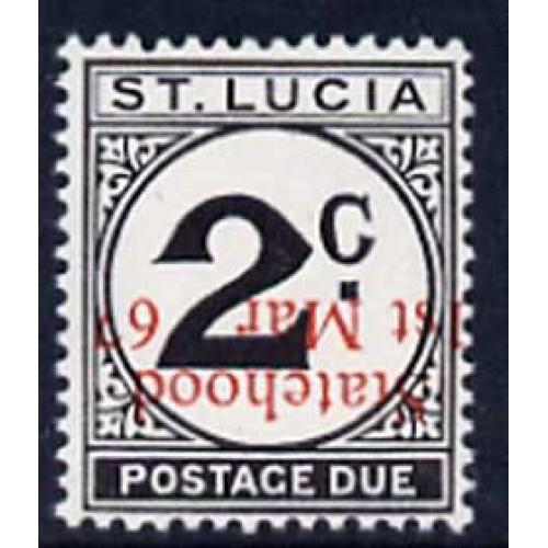 St Lucia 1967 POSTAGE DUE 2c with STATEHOOD OPT INVERTED mnh