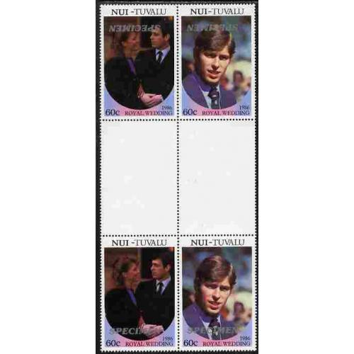 Tuvalu Nui 1986 ROYAL WEDDING PAIR SPECIMEN opt INVERTED mnh