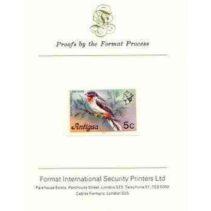 Antigua 1976  SOLITAIRE BIRD 5c  imperf on FORMAT INTERNATIONAL PROOF CARD
