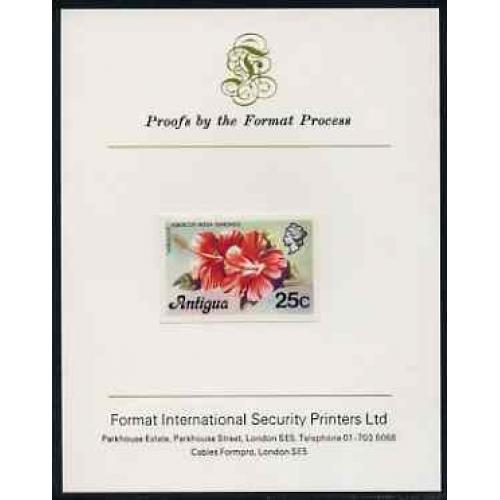 Antigua 1976  HIBISCUS  25c  imperf on FORMAT INTERNATIONAL PROOF CARD