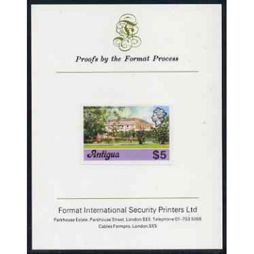 Antigua 1976  GOVERNMENT HOUSE $5  imperf on FORMAT INTERNATIONAL PROOF CARD