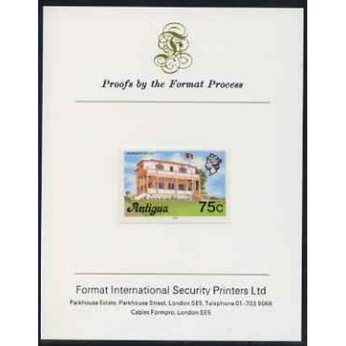Antigua 1976  PREMIER's OFFICE 75c  imperf on FORMAT INTERNATIONAL PROOF CARD