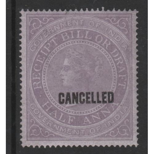 India 1860 RECEIPT BILL or DRAFT opt'd CANCELLED mnh