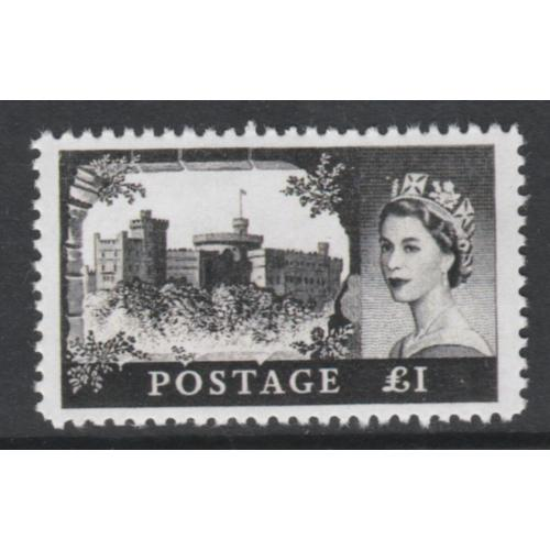 Great Britain 1955 QEII  CASTLE £1 - Maryland Forgery