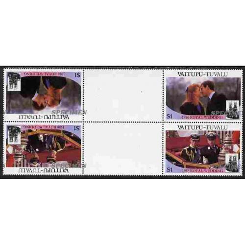 Tuvalu Vaitupu 1986 ROYAL WEDDING PAIR SPECIMEN opt INVERTED mnh