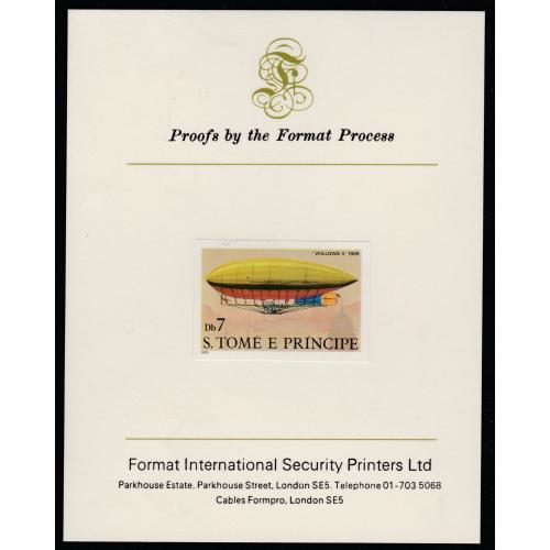 St Thomas & Prince 1980 AIRSHIPS  7Db  imperf on FORMAT INTERNATIONAL PROOF CARD