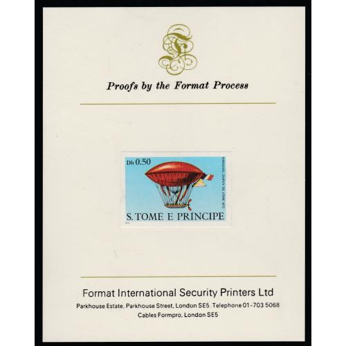 St Thomas & Prince 1980 AIRSHIPS  0.5Db  imperf on FORMAT INTERNATIONAL PROOF CARD