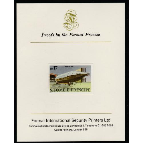 St Thomas & Prince 1980 AIRSHIPS  17Db  imperf on FORMAT INTERNATIONAL PROOF CARD