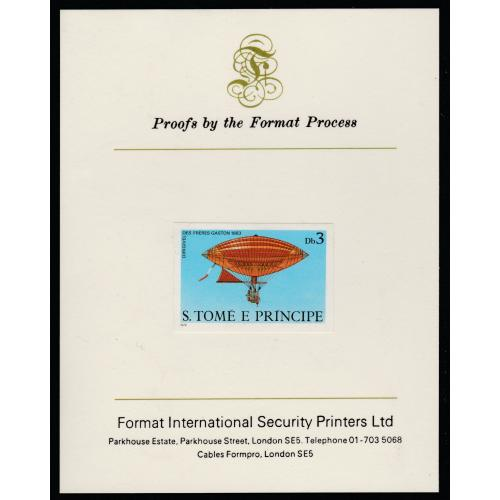 St Thomas & Prince 1980 AIRSHIPS  3Db  imperf on FORMAT INTERNATIONAL PROOF CARD