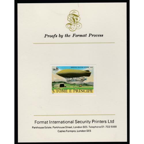 St Thomas & Prince 1980 AIRSHIPS  8Db  imperf on FORMAT INTERNATIONAL PROOF CARD