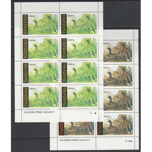 Tanzania 1986 AUDUBON BIRDS - MALLARD with RED OMITTED complete sheet