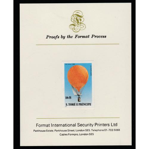 St Thomas & Prince 1980 BALLOONS 8Db  imperf on FORMAT INTERNATIONAL PROOF CARD