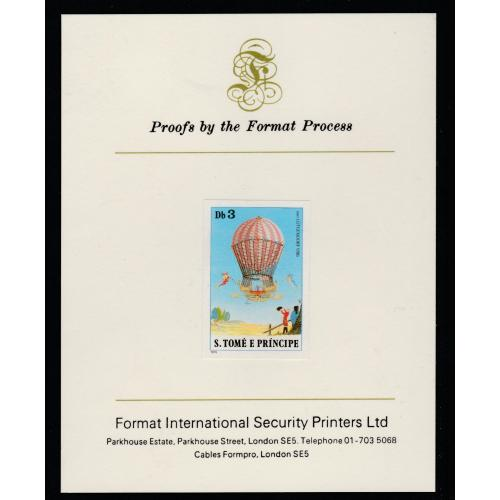St Thomas & Prince 1980 BALLOONS 3Db  imperf on FORMAT INTERNATIONAL PROOF CARD