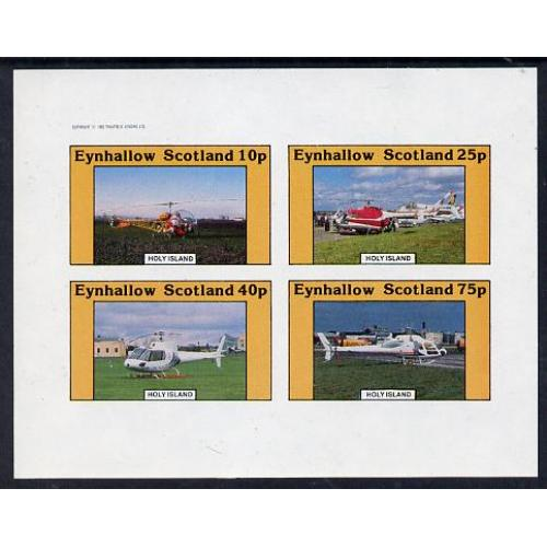 Eynhallow 1982 Helicopters imperf set of 4 mnh
