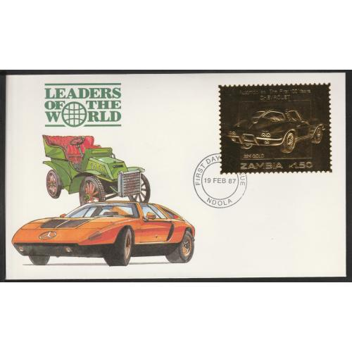 Zambia 1987 CLASSIC CARS in GOLD - CHEVROLET on First Day Cover