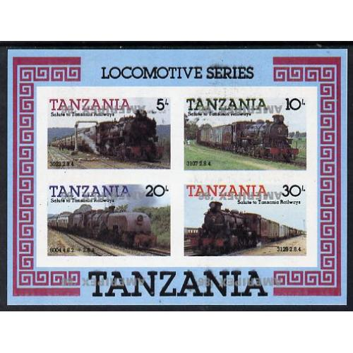 Tanzania 1986 RAILWAYS m/sheet - AMERIPEX OPT INVERTED mnh