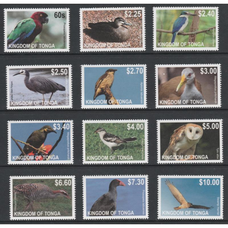 Tonga 2013  BIRDS DEF set of 12 values completemnh