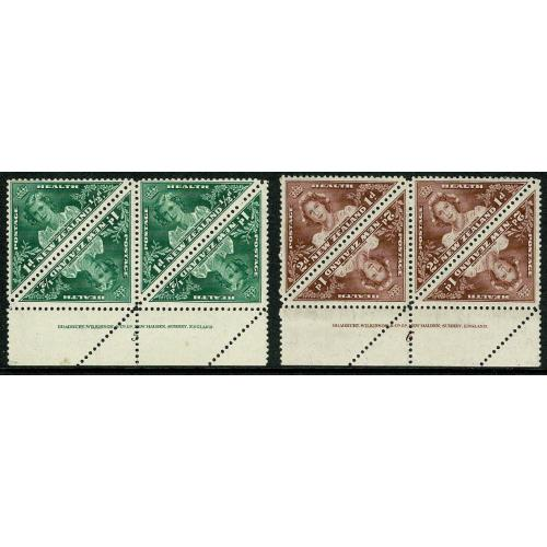 1943 Health Stamps. SG 636-637. Imprint blocks