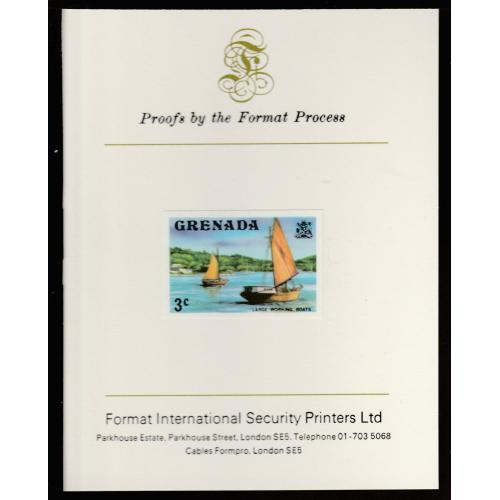 Grenada 1975  WORKING BOATS  mperf on FORMAT INTERNATIONAL PROOF CARD