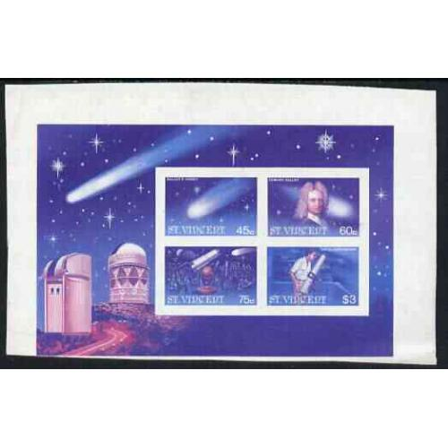 St Vincent 1986 HALLEY'S COMET PROOF m/sheet mnh