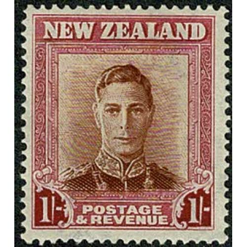 1947 1/- red brown and carmine. Plate 1. Wmk sideways. SG 686