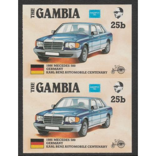 Gambia 1987 AMERIPEX CARS - MERCEDES imperf pair ex archive sheet mnh