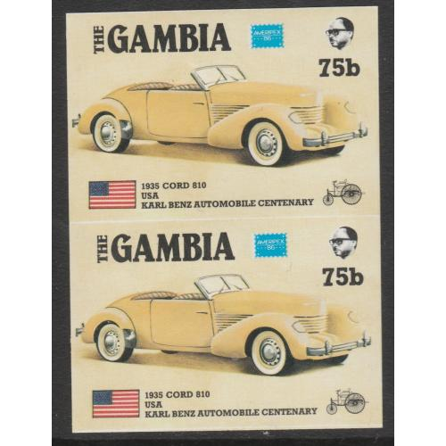 Gambia 1987 AMERIPEX CARS - CORD imperf pair ex archive sheet mnh