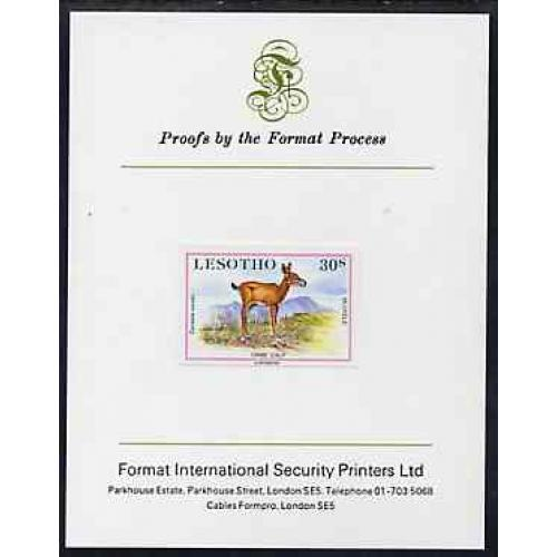 Lesotho 1984 BABY ANIMALS - ORIBI CALF on FORMAT INTERNATIONAL PROOF CARD