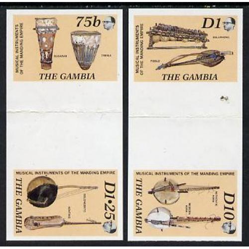 Gambia 1987 MUSICAL INSTRUMENTS IMPERF PROOF GUTTER PAIRS mnh