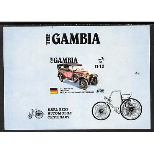 Gambia 1987 AMERIPEX CARS - BENZ IMPERF PROOF m/sheet mnh