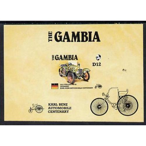 Gambia 1987 AMERIPEX CARS - STEINER IMPERF PROOF m/sheet mnh