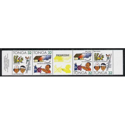 Tonga 1991 ACCIDENT PREVENTION STRIP of 4