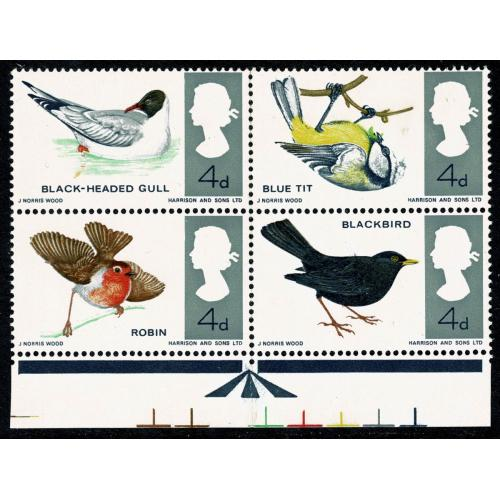 1966 Birds (ord) MISSING BRIGHT BLUE. SG 696/697g.