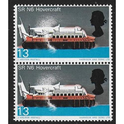 1966 Technology 1/3. SHIFT OF RED & BLACK. Vertical pair SG 703 var.