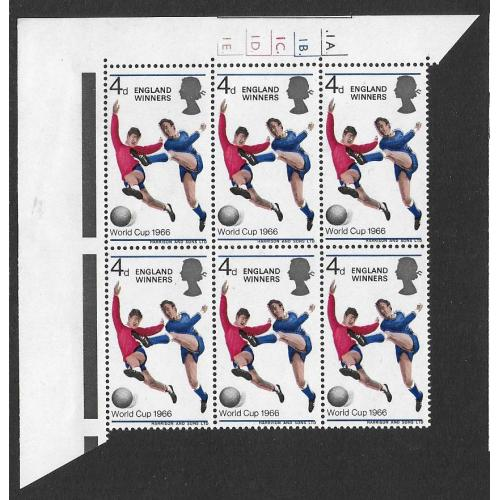 1966 World Cup Winners 4d. SHIFT OF BLUE & FLESH colours Cylinder block