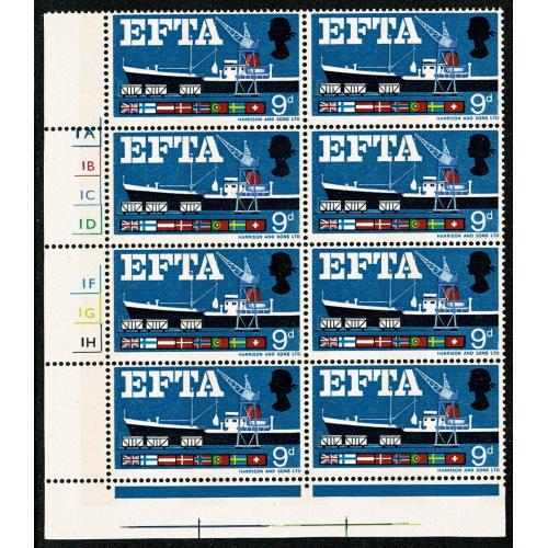 1967 EFTA 9d (phos). MISSING BROWN. Cylinder block. SG 715pd