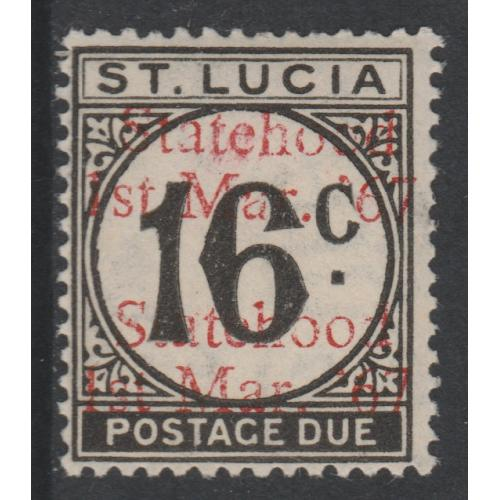 St Lucia 1967 POSTAGE DUE 16c with STATEHOOD OPT DOUBLED mnh