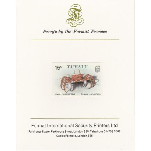 Tuvalu  1986 CRABS - GHOST CRAB  on FORMAT INT PROOF CARD