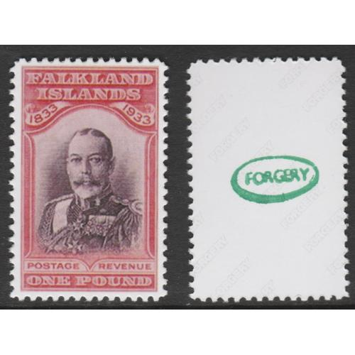 Falkland Is 1933 CENTENARY £1 KING GEORGE V  - Maryland Forgery