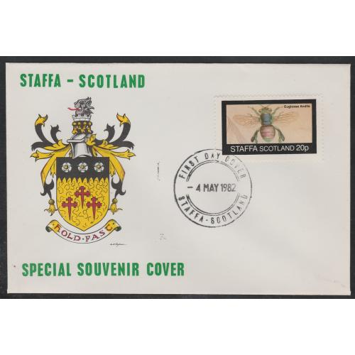 Staffa 1982 BEES  20p on first day cover