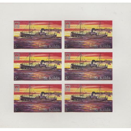 St Kilda 1971 SHIPS THE LADY AMBRODSINE complete imperf sheet of 6 mnh