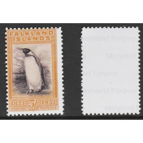 Falkland Is 1933 CENTENARY 5s PENGUIN  - Maryland Forgery